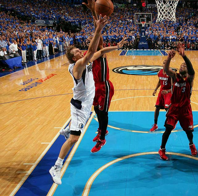 Dirk Nowitzki's gutsy performance during the Mavericks' Game 4 victory over the Heat helped propel Dallas to its only NBA Championship. Nowitzki, already dealing with a torn tendon in one of his fingers, battled through a 101-degree fever on the way to scoring 21 points, including a crucial fourth-quarter layup during the Mavs 86-83 win. That triumph tied the best-of-seven series at 2-2 and Dallas won the next two games to ruin LeBron James' first season in Miami.