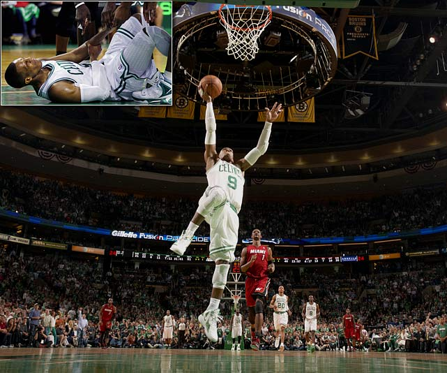When starting Celtics point guard Rajon Rondo dislocated his elbow during Game 3 of the Eastern Conference semifinals against the Heat, the Boston crowd had a good reason to be worried. But just 7:01 of game time later, Rondo was back on the court for the fourth quarter, his left arm hanging from a sling. Rondo finished the game one-armed, with four of his six points coming after the injury.