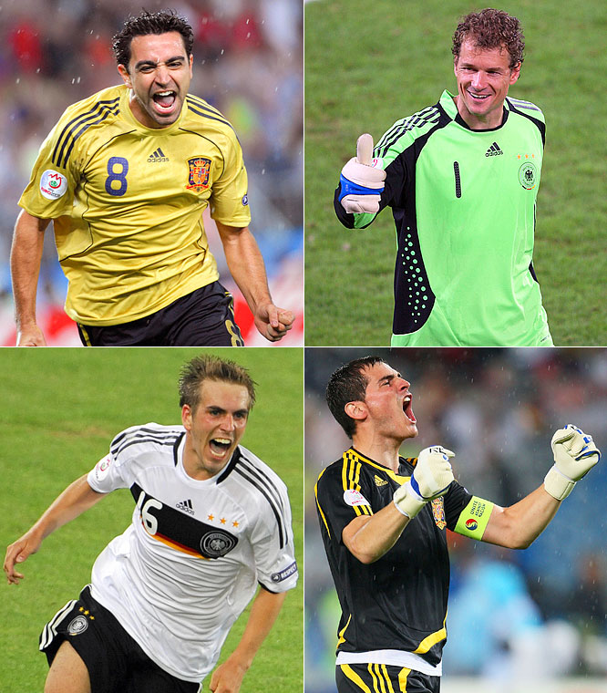 Sunday's Euro 2008 final between Germany and Spain is the 20th meeting between the international soccer giants but the first in a major final. In fact, it's the first time the two countries have met in a single-match knockout game in the World Cup or the European Championships. Here's a look at some of the memorable ties between <i>Die Nationalelf</i> and <i>La Furia Roja</i> over the years.