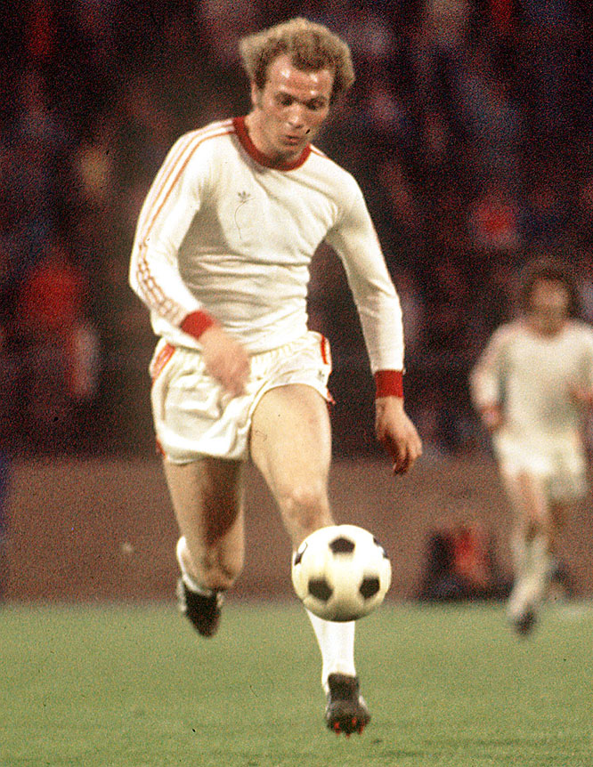 The Germans played the Spanish to a 1-1 draw at Vicente Calderón Stadium in the first match of a two-legged quarterfinal. But an early goal from Uli Hoeness (pictured) sparked the reigning world champions to a 2-0 victory in the second leg at the Olympic Stadium in Munich, advancing West Germeny through to the semifinals.