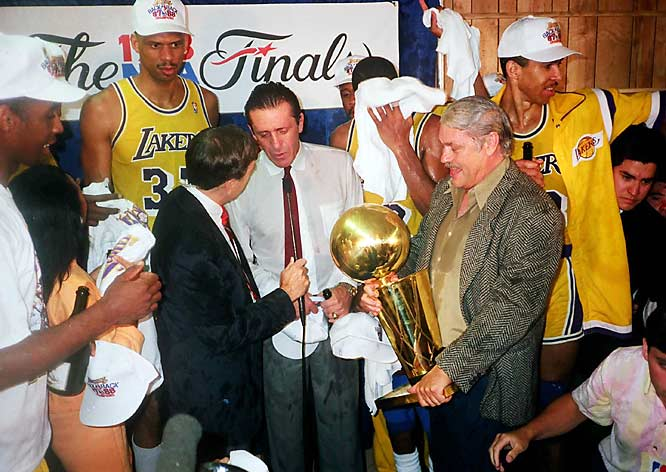 While celebrating the Lakers 1987 Finals victory over the Boston Celtics, Riley  ''guaranteed''  a repeat championship in 1988.   Result:  The Lakers became the first back-to-back champions in 18 seasons by winning 4-3 against the Detroit Pistons.