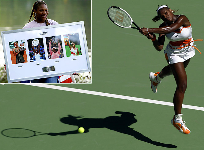 After amassing a 56-5 record and eight singles titles, including three Grand Slams in 2002, Williams carried considerable momentum into the '03 campaign. With her 7-6, 3-6, 6-4 victory over elder sister Venus in the Australian Open final in January, Serena became the fifth woman in the Open era to complete a Career Grand Slam.  Send comments to siwriters@simail.com.