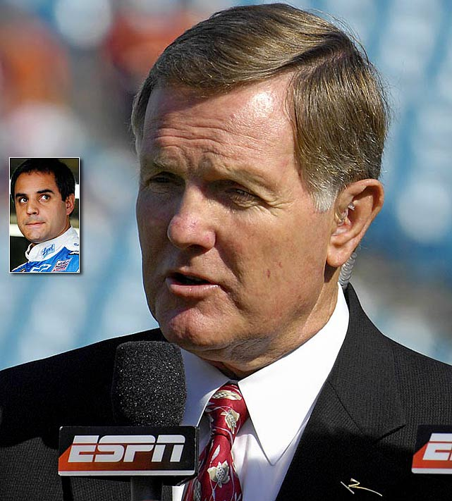 ''He's out having a taco.'' <italics>--- ABC college football analyst Bob Griese after a fellow analyst asked why Juan Pablo Montoya's name wasn't listed on a graphic showing the top five drivers in the NASCAR standings.</italics>