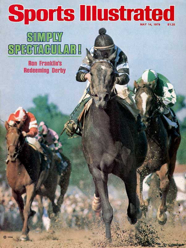 After Spectacular Bid won the Derby by 2 3/4 lengths (pictured) and finished the Preakness faster than Triple Crown winners Seattle Slew, Affirmed, and Secretariat, an embedded safety pin was found in his hoof on the morning of the Belmont. The injury, and his jockey's pre-race fist fight with a rival, contributed to a third-place finish.