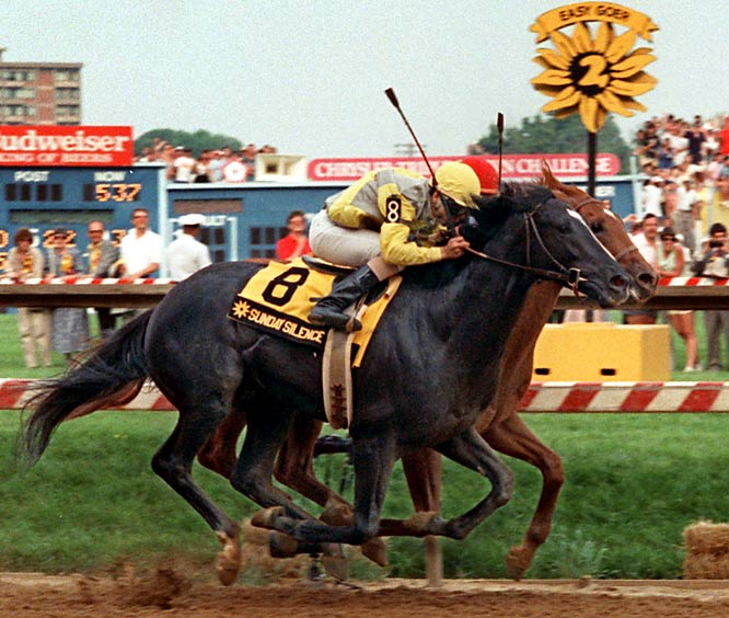 The nearly all-black horse made noise on the first two Saturday's of the Triple Crown, topping the overwhelming favorite Easy Goer on a muddy Derby track and again by a nose in the Preakness (pictured) after the rivals raced side by side from the quarter pole. But Easy Goer's closing speed, stifled on the two shorter races, opened up on his home track, where he topped Sunday Silence by eight lengths.