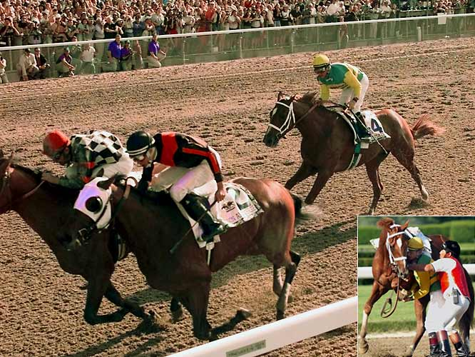 Charismatic (4) was the third straight horse with a chance at the Triple Crown, but lost the lead in the final furlong after breaking his leg. Jockey Chris Antley leapt off after the finish line and held up Charismatic's body, possibly preventing further damage.