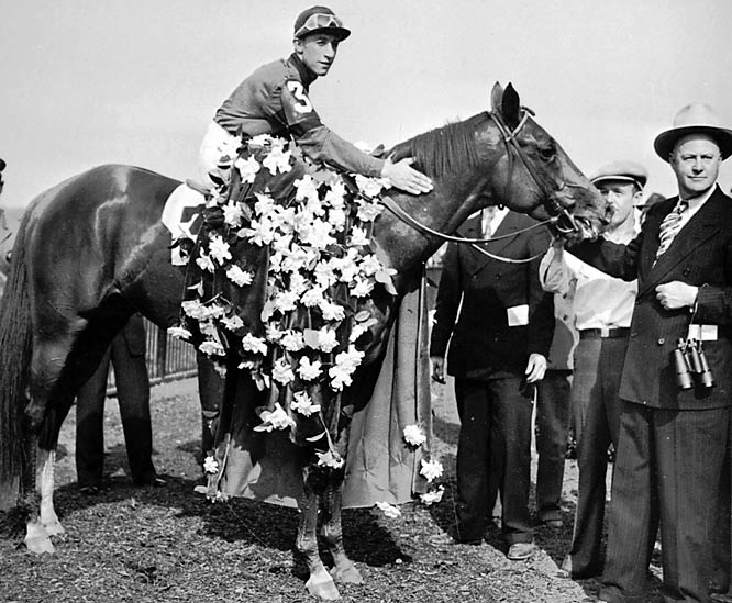 Known for his dramatic victories, Whirlaway began races slowly, but finished with sudden outbursts of speed, shocking spectators in all three of the Triple Crown races and eventually finishing with more than $500,000 in career winnings.