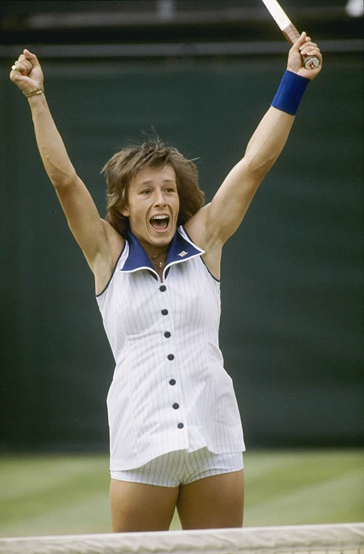Martina Navratilova wore this gigantic blue collar and pin-striped button down at her first of nine Wimbledon titles.