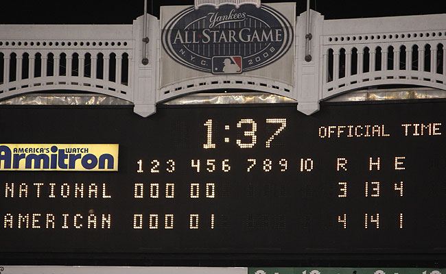 The scoreboard says it all ... almost anyway. The 4-hour, 50-minute marathon was the longest game by time in All-Star history and tied the the NL's 2-1 win at Anaheim in 1967 for the longest by innings.