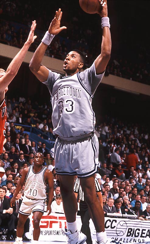 Following in Ewing's famed footsteps, Mourning became the second Hoya to score more than 2,000 points (2,001) and 1,000 rebounds (1,032). He ended his time at Georgetown as the school's all-time leader in free throws made (771) and free throws attempted (1,023). Mourning was named the Big East Defensive Player of the Year three times ('89, '90, '92) and awarded the Dave Gavitt Trophy (Championship MVP) during his senior year.