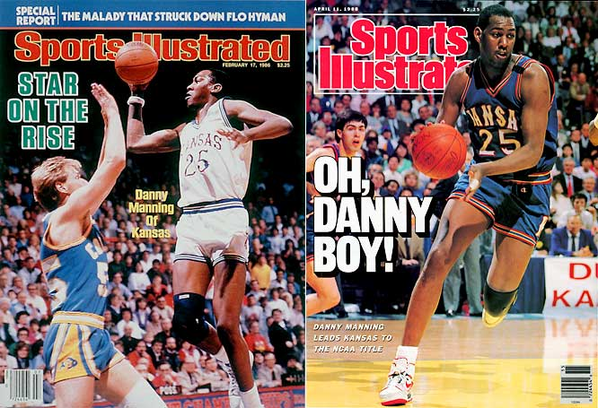 A two-time All-America and consensus NCAA Player of the Year in 1988, power forward Danny Manning is Kansas' all-time leading scorer and rebounder with 2,951 points and 1,187 rebounds. He led the Jayhawks to the 1986 Final Four and a 1988 NCAA title against Oklahoma and was the tournament's Most Outstanding Player. Drafted first overall in the 1988, Manning was later named the Big Eight's Player of the Decade and is currently the eighth all-time leading scorer in NCAA history.
