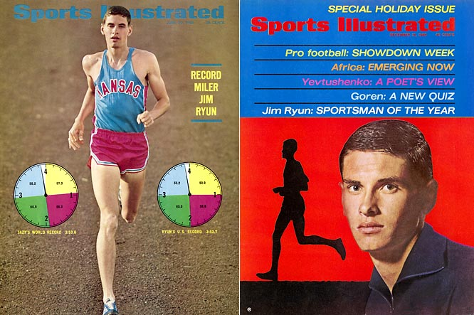 "As a freshman, Jim Ryun was named Sports Illustrated's ""Sportsman of the Year"" after setting world-record times in the indoor half-mile (1:48.3) and outdoor mile (3:51.1). With the help of his teammates, he set more world records in the sprint medley (3:15.2) and distance medley relays (9:33.8) before becoming the NCAA outdoor mile champion and three-time indoor mile champion. His indoor mile victory in 1969 helped the Jayhawks win the NCAA indoor championship."