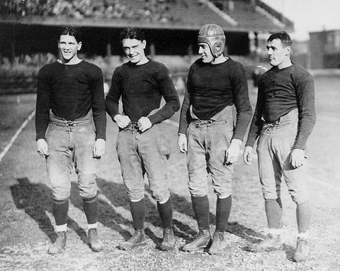 Quarterback Stuhldreher, left halfback Crowley, right halfback Miller and fullback Layden shattered opposing defenses beginning in 1922, when coach Knute Rockne created the illustrious lineup. The nickname didn't arise until 1924 when the quartet secured their fame with ND's 13-7 victory over Army in 1924. After that momentous win, the Irish recorded a 27-10 win over Stanford in the 1925 Rose Bowl and won the national championship with a perfect 10-0 record.