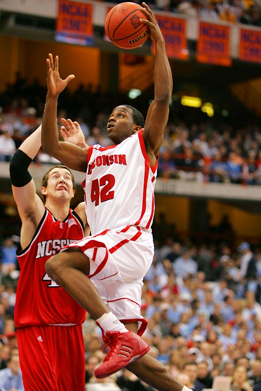 Wisconsin's all-time leading scorer passed Michael Finley with 2,217 points, also setting the school records for offensive rebounds (314) and games played (134). Tucker was a first team All-America and Big Ten Player of the Year in his senior season.