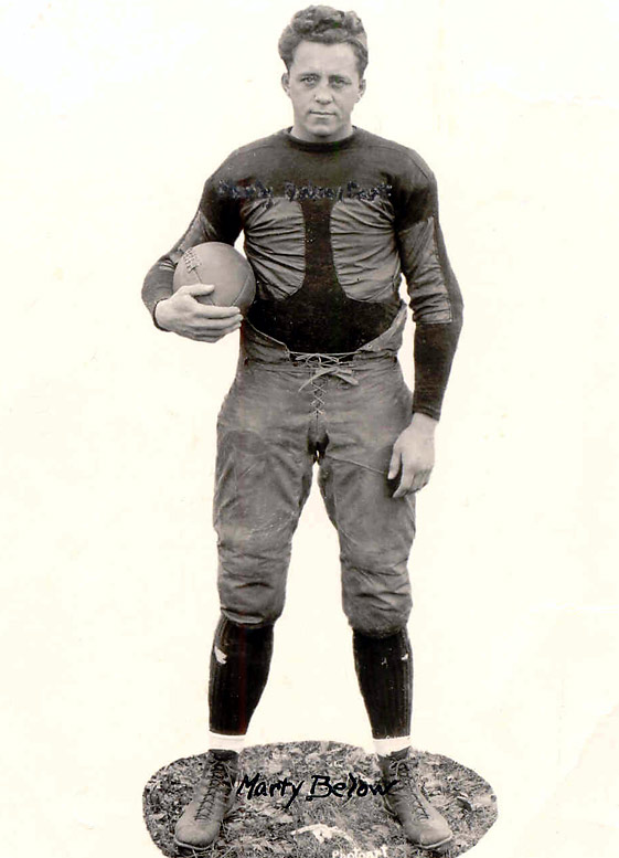 "A consensus All-America in 1923 and a two-time All-Western conference performer, Below started two years on the offensive line. Red Grange called Below ""the greatest lineman I ever played against."""