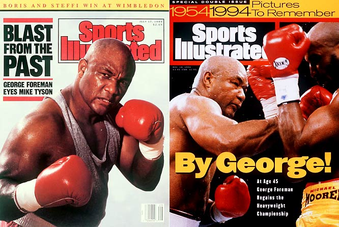After 10 years away from the ring, Foreman came back from his second retirement in 1988. In 1994, at 45, he reclaimed the heavyweight title he had lost to Muhammad Ali 20 years earlier.