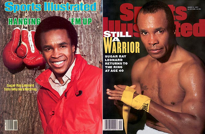 No athlete is known for having more comebacks than Sugar Ray Leonard. His first retirement was in 1982 after he suffered a detached retina in his left eye. He returned a year later but re-retired after a fight with Kevin Howard. Leonard's next return, in '86, only lasted one fight as he beat Marvin Hagler in a split decision. In typical Leonard fashion, that retirement was only temporary and he came back in '88 before announcing two more retirements following loses to Terry Norris in '91 and Hector `Macho' Camacho in '97.
