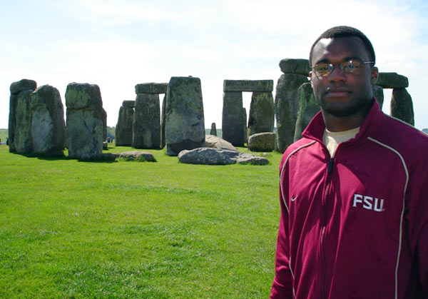 Here, Rolle visits Stonehenge in the English county of Wiltshire.