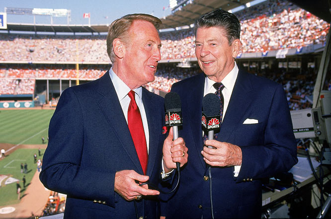 President Ronald Reagan sits in on the broadcast of the MLB All Star Game.