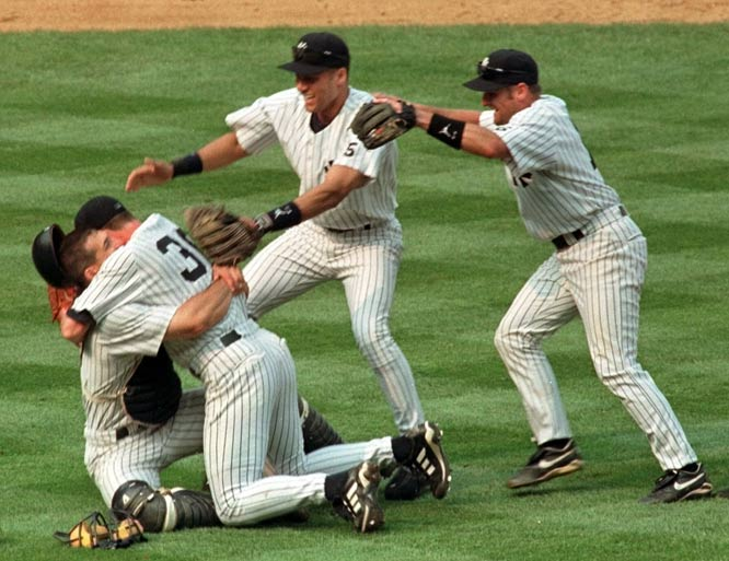 On Yogi Berra Day at Yankee Stadium, David Cone becomes the 16th pitcher in major league history and the third Yankee to toss a perfect game beating the Expos, 6-0.