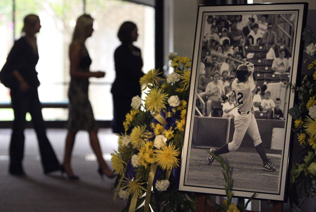 Tulsa Drillers' first base coach Mike Coolbaugh is killed instantly when struck in the head by a line drive in the top of the ninth inning. The 35-year old dad, who leaves behind a pregnant wife and two small sons, beomes the second on-the-field fatality in professional baseball history.