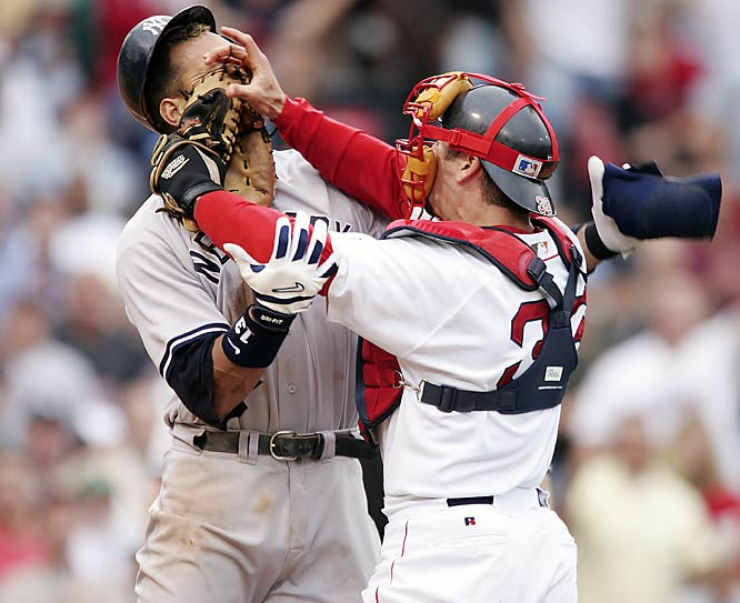 A bench-clearing brawl breaks out between the Res Sox and Yankees after Boston starter Bronson Arroyo hits Alex Rodriguez with a pitch. As A-Rod stares out at the mound on his way to first, Boston's catcher Jason Varitek pushes the all-star third baseman in the face causing a series of fights with players in both team's dugouts and bullpens involved.