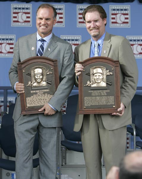 Wade Boggs and Ryne Sandberg are enshrined into the Baseball Hall of Fame. Also inducted are Padres announcer Jerry Coleman, winner of the Ford C. Frick Award, and sportswriter and broadcast analyst Peter Gammons, recipient of the J.G. Taylor Spink Award.
