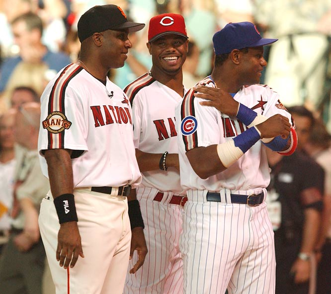 The selection of Barry Bonds, Ken Griffey Jr. and Sammy Sosa as starters in the NL All-Stars line-up marks the first time in baseball history which three players with 500 career home runs have appeared on the same team.