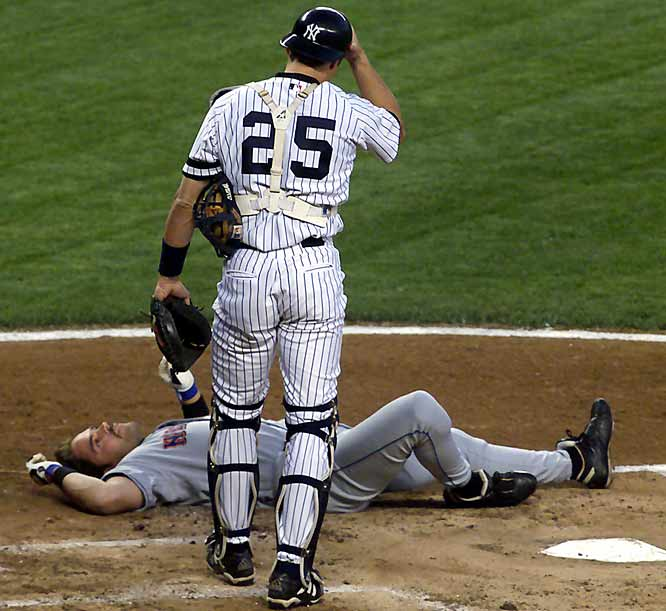 The Yankees sweep the Mets in the first double-ballpark doubleheader since 1903. During the evening contest at Yankee Stadium, Roger Clemens hits Mike Piazza in the head with a pitch, giving the Mets catcher a concussion and forcing him to miss the All-Star Game as a result.