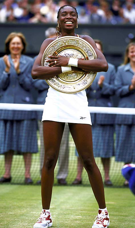 Venus Williams wins her first of three Wimbledon titles with a victory over Lindsay Davenport.