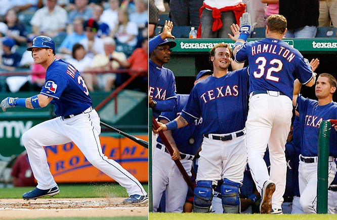 The comeback story of Texas Rangers outfielder Josh Hamilton keeps getting better and better: against the Astros he went 5-for-5 with a triple and two home runs -- 13 total bases -- and five RBIs in a 16-8 win. Through June 30, he remained a Triple Crown contender. He led the American League in RBIs (80), tied for the lead in home runs (19) and was tenth in average (.312).