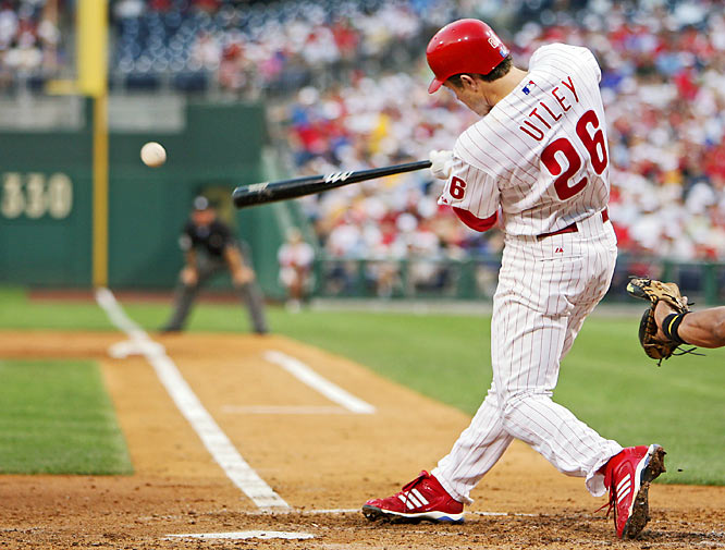 Phillies second baseman Chase Utley has three hits, including his then major league-leading 16th home run, and has six RBIs as the Phillies rout the Rockies 20-5, a day after blasting the Astros 15-6. Utley's homer was part of an eight-game stretch in which he homered in seven.