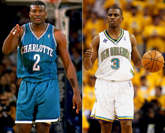 Larry Johnson (left) and Glen Rice got the Hornets to the playoffs in seven of the team's 14 seasons in Charlotte, but rapidly declining attendance sent the team to New Orleans -- with a brief stint playing home games in Oklahoma City after Hurricane Katrina -- where the team reached the second round of the playoffs last season behind Chris Paul.