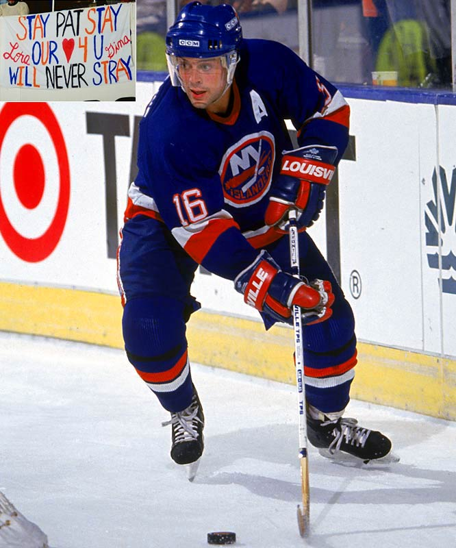 LaFontaine, one of the few beloved holdovers from the Isles' last Cup final team, expressed frustration with the franchise and held out in training camp for a new contract. He was sent to Buffalo in October '91 for Pierre Turgeon, Benoit Hogue, Uwe Krupp and Dave McIlwain. Dynasty stalwart Brent Sutter was dealt to Chicago for Steve Thomas and Adam Creighton.
