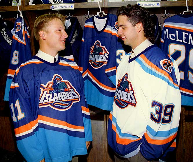 "The ultimate indignity during that awful 1995-96 season was the Isles' new uniforms, which inspired Ranger fans to chant, ""We want fish sticks!"" due to the crest's uncanny resemblance to a character associated with a name brand of frozen sea food. The seasick threads were befitting a team that finished with a scurvy mark of 22-50-10. The fisherman was deep-sixed after the season in favor of the old crest, but the nautical colors remained a while longer."