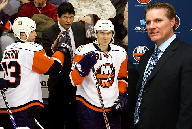 After nearly making the playoffs again with an injury-riddled team, the Isles let Nolan go in July 2008, largely for having the temerity to tell his GM that the group of plumbers they had on the ice was not the second coming of the Mike Bossy-Bryan Trottier-Clark Gillies-Denis Potvin-Billy Smith team. Snow disagreed, insisting that Bill Guerin, Miroslav Satan, Ruslan Fedotenko, Mike Comrie and Brendan Witt should be enough talent for anyone. The Isles saga continued as Snow searched for a coach who shares his vision.