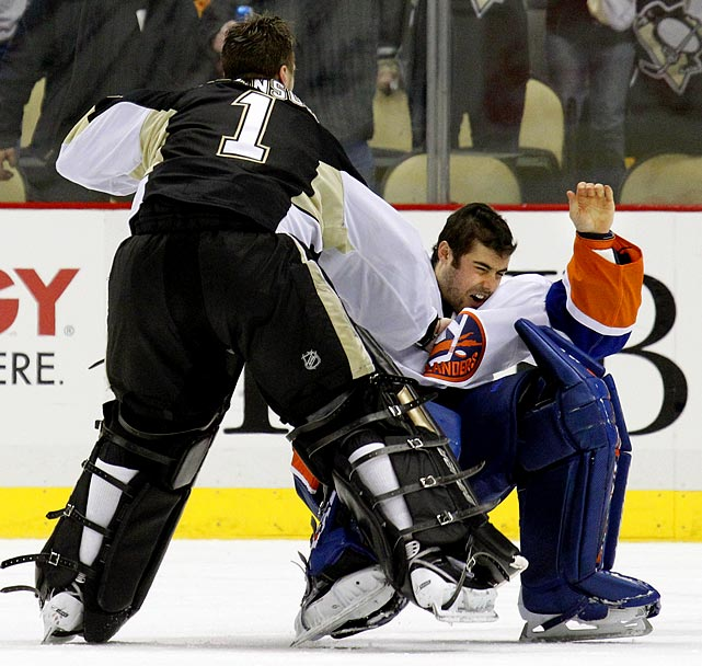 The painful saga of Rick DiPietro reached its nadir on February 2, 2011 in a 3-0 loss to the Penguins when the Isles starcrossed goalie skated out of his net to fight counterpart Brent Johnson during a scrum and was dropped by one punch. DiPietro suffered facial fractures and a knee injury and was rendered hors de combat for 4-6 weeks.