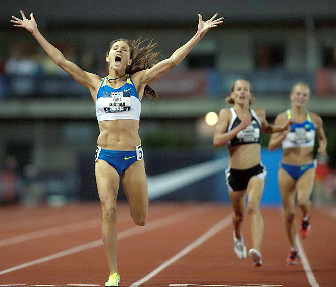 After finishing second in the 10,000 earlier at the Olympic trials, Kara Goucher finished the 5,000 in 15 minutes, 1.02 seconds. She and teammate Shalane Flanagan will compete in both events at the Beijing Games.