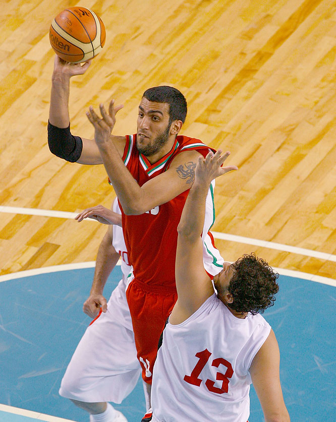 The 7-foot-2, 254-pound center poured in 31 points and grabbed 10 rebounds against Lebanon for the FIBA Asian Championship last year, helping Iran clinch its first Olympic basketball berth since 1948. He's expected to explore a move to the NBA following the Beijing Games.