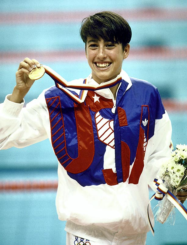 At 15, Evans broke world records in the 400, 800, and 1500-meter freestyle one year before winning three individual gold medals at the 1988 Seoul Olympics. She added gold in the 800 and silver in the 400 in 1992. Her world record in the 800 still stands.