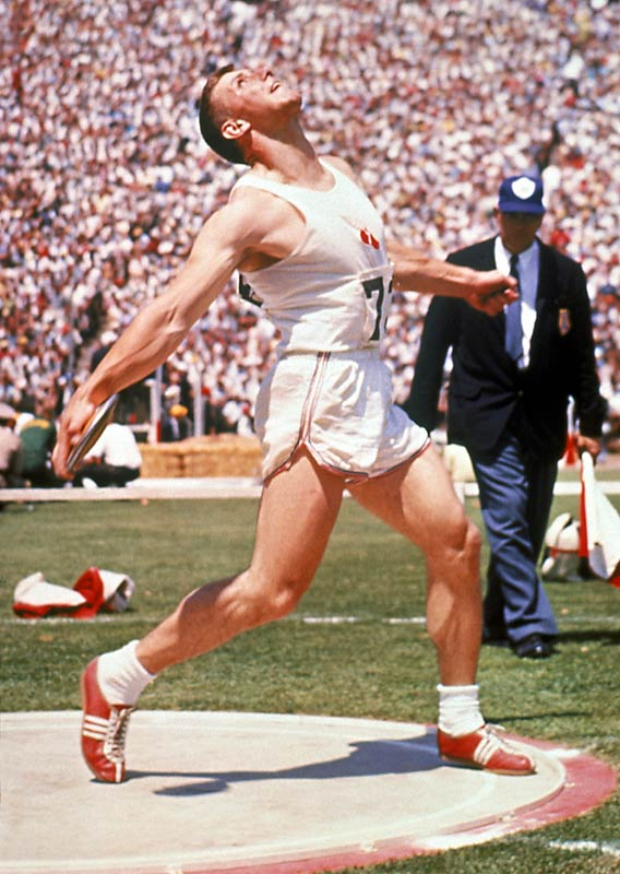 Oerter was the first to take gold in a single event at four straight Olympics, winning the discus from 1956 to 1968. After battling injuries in both of his final two gold medal wins, only a strained Achilles tendon kept him from competing in the 1984 Games at age 47.