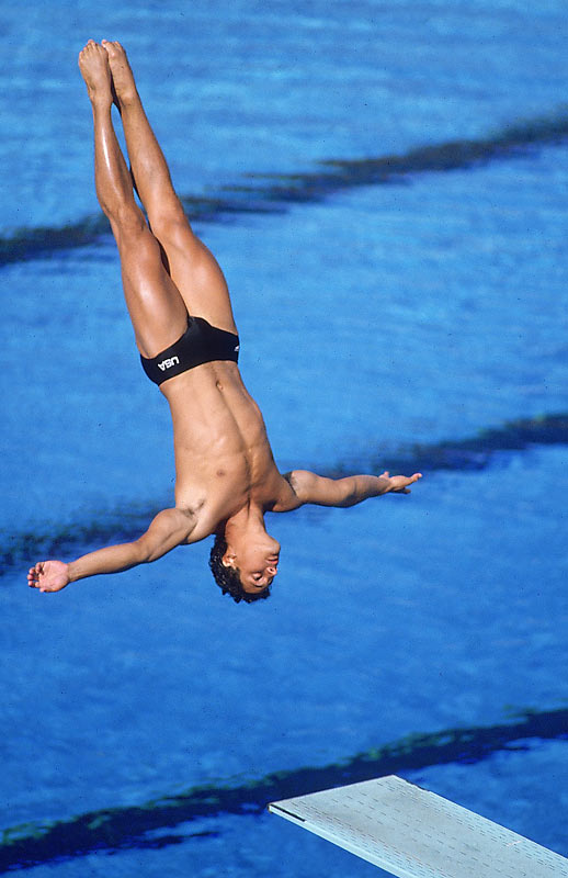 After winning silver in the platform in 1976, Louganis became the first person since 1928 to win both the platform and springboard diving gold medals, doing so at the 1984 Olympics. He repeated the feat four years later despite needing stitches after hitting his head on the board in qualifying.