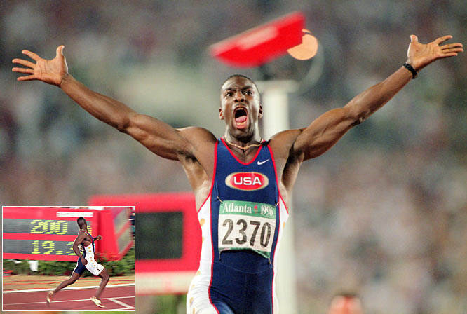 The former world record holder in the 200- and 400-meter events wore custom gold shoes at the 1996 Olympics, where he became the first athlete to win Olympic gold medals in those two events at the same Games.