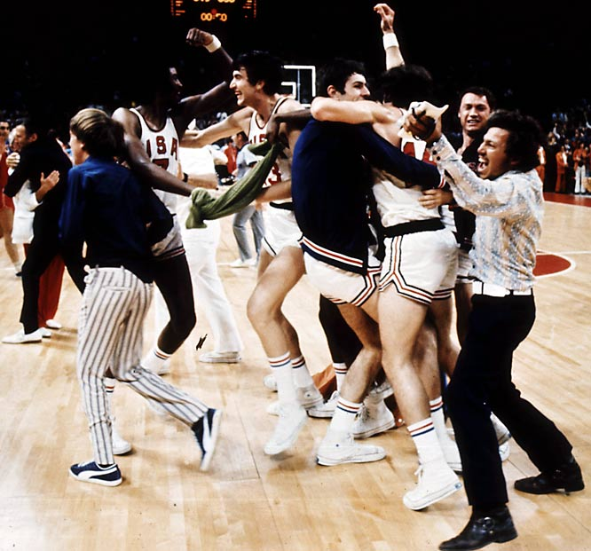 With Henry Iba coaching in his third Olympics, the U.S. marched to the gold medal game, improving its Olympic winning streak to 63 games (pictured). The U.S. finally met a challenge in the Soviet Union, and lost its first international game when an infamous and controversial decision gave the Soviets three attempts to inbound the ball with three seconds remaining, scoring the winning basket on the final attempt.