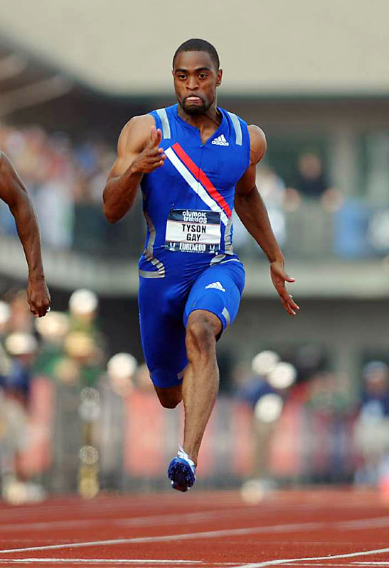 A three-time gold medalist at the 2007 world championships, Gay has been the star of the show for the U.S. men's Olympic team, especially after setting an American record in the 100-meters at the trials in June with a time of 9.77 seconds. Though he injured his leg in the 200-meter trials, thereby eliminating his shot at competing in that event, he's expected to be fully recovered for the 100 by the opening ceremonies.