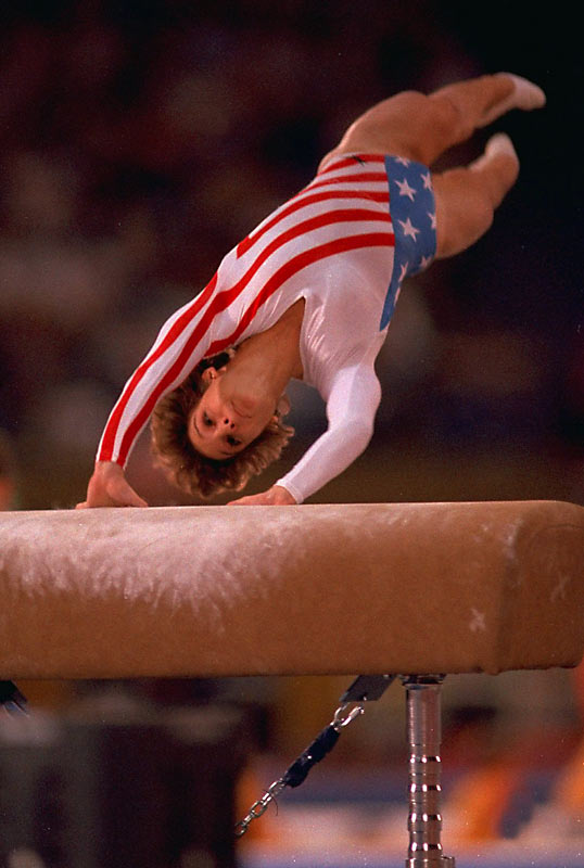 Inspired by Nadia Comaneci growing up, Mary Lou Retton became an Olympic gymnastics idol herself when she became the first American to win the all-around title at the 1984 Games in Los Angeles. She also won two silver and two bronze medals at the '84 Olympics.
