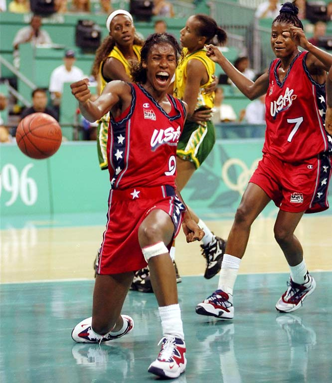 After some time away from the gold-medal stand, the U.S. women fielded one of the deepest teams in history, winning the gold medal at the Atlanta Games with Dawn Staley, Sheryl Swoopes (7) and Lisa Leslie (9).