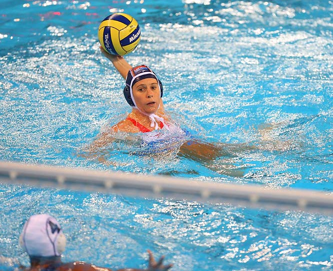 Danielle de Bruijn of the Dutch water polo squad scoreing seven of the Netherlands' nine goals against the U.S.