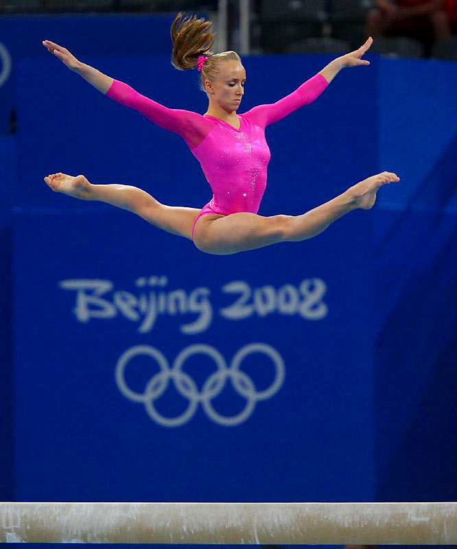 Nastia Liukin becoming the third American woman to win the gold medal in the all-around gymnastics competition.
