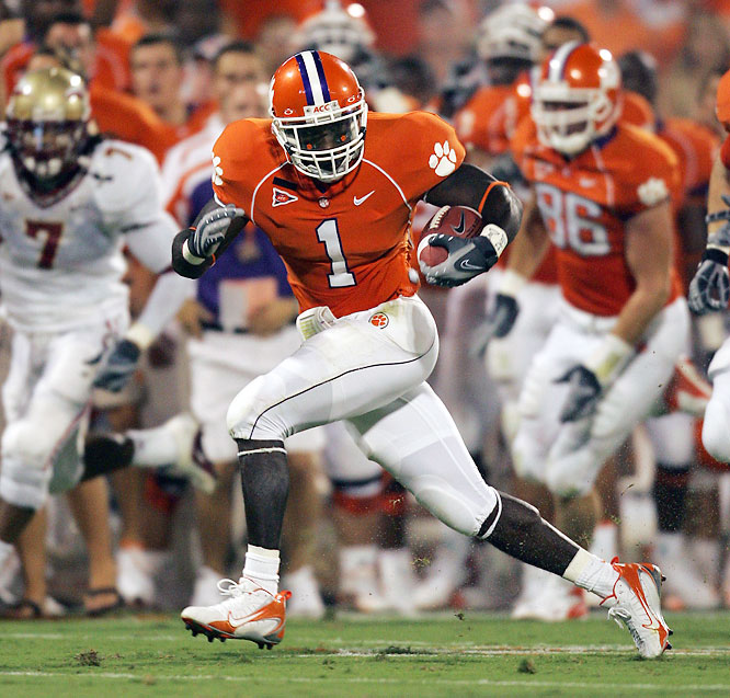 As the workhorse of Clemson's fabulous backfield duo, Davis hits holes hard and rarely goes down at first contact. He rushed for 3,130 rushing yards and 36 touchdowns during his first three seasons.